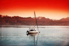 Yacht on lake geneva Royalty Free Stock Photography