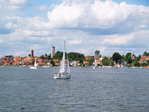 Yacht on a lake, Mikolajki marina, Poland Stock Photos