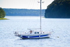 Yacht on Lake Plateliai, Lithuania Royalty Free Stock Photography