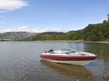 Yacht in the lake Sant Antoni series. Photo taken in the Sant Antoni reservoir in la Pobla de Segur (Catalonia) SPAIN Stock Photos