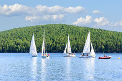 Yacht on Lake Turgoyak, Southern Urals Stock Images