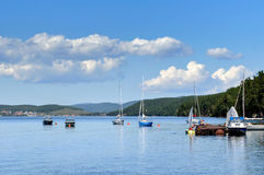 Yacht on Lake Turgoyak, Southern Urals Stock Photography