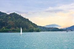 Yacht on Lake Worth. Austria Royalty Free Stock Images