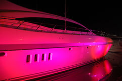 Yacht Light up with Party Lights in South Beach Royalty Free Stock Image