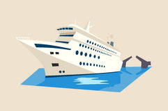 Yacht or liner, ship on water with moveable bridge Royalty Free Stock Image