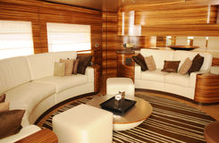 Luxury Yacht Interior - Cozy Living Room Royalty Free Stock Photography