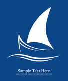 Yacht logo. White on blue background - illustration Stock Photos