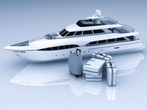 Yacht and luggage. From suitcases on a white background Royalty Free Stock Photography