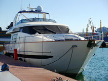 Yacht. A luxury yacht at the yacht club in the port Royalty Free Stock Images