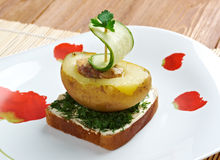 Yacht made of potatoes and cucumber. Breakfast for child.yacht made of potatoes and cucumber Stock Photography