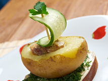 Yacht made ​​of potatoes and cucumber Stock Photo