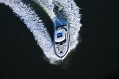 Yacht making a turn Royalty Free Stock Photo