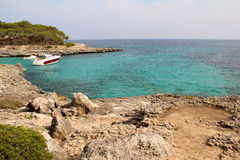 A yacht at Mallorca Cala Mondrago Stock Photography