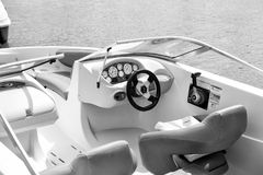 Yacht management approach from inside. Niani, Florida-February 19, 2016 :yacht boat view from inside, luxury travel concept Stock Image