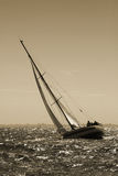 The yacht maneuvers. Storm Royalty Free Stock Photos