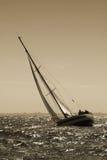 The yacht maneuvers. Storm Royalty Free Stock Photos
