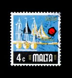 Yacht Marina, Aspects of Malta serie, circa 1973. MOSCOW, RUSSIA - NOVEMBER 23, 2017: A stamp printed in Malta shows Yacht Marina, Aspects of Malta serie, circa Royalty Free Stock Photos