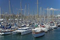 Yacht marina in Barcelona. Royalty Free Stock Photo