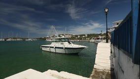 Yacht Marina on the Greek island. Camera movement. (HD) stock video