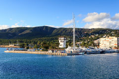 Yacht marina at harbour Puerto Portals in Portals Nous and Mediterranean Sea, Majorca Royalty Free Stock Image