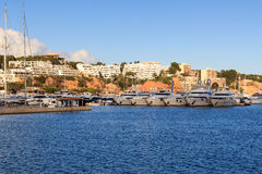 Yacht marina at harbour Puerto Portals in Portals Nous and Mediterranean Sea, Majorca. Spain Stock Image