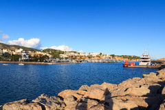 Yacht marina at harbour Puerto Portals in Portals Nous and Mediterranean Sea, Majorca. Spain Stock Images