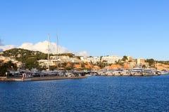 Yacht marina at harbour Puerto Portals in Portals Nous and Mediterranean Sea, Majorca. Spain Stock Photos