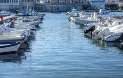 Yacht marina. Lots of beautiful yachts Royalty Free Stock Image