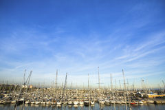 Yacht Marina in the Mediterranean sea. Travel. Picture with space for text. Royalty Free Stock Photos