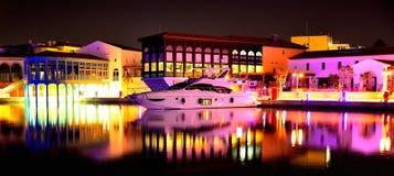 Yacht in marina at night Royalty Free Stock Image