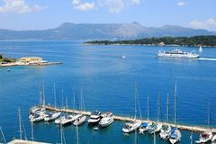 The yacht marina of the Old Fortress of Corfu with the Gulf of Corfu and Mount Pantokrator at the back, Corfu City, Corfu Island, stock images