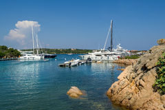 Yacht marina at Porto Cervo bay. Scenic views of Sardinia island, Italy Royalty Free Stock Images