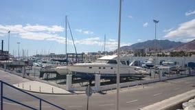 Yacht in a marina in Spain stock photos