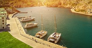 Yacht marina in the sunlight Stock Photos