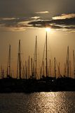 Yacht marina at sunset Royalty Free Stock Images