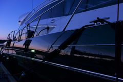 Luxury yacht exterior in the evening stock image