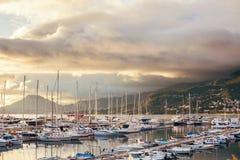 Yacht marina at sunset. Montenegro. Royalty Free Stock Image