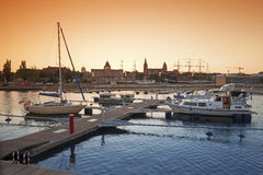 Yacht marina at sunset. Stock Photos
