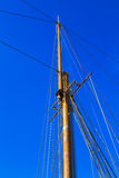 Yacht mast against blue summer sky. Lisbon Portugal Royalty Free Stock Photography