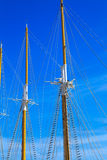 Yacht mast against blue summer sky. Lisbon Portugal Stock Image