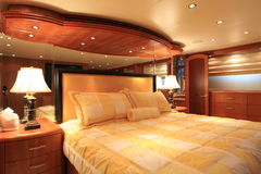 Yacht Master Bedroom. The master bedroom on a yacht royalty free stock images