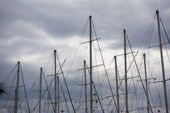 Yacht masts and sky stock photo