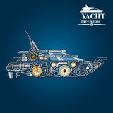 Yacht mechanics icon of motor boat from parts Stock Photos