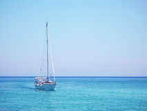 Yacht in the Mediterranean sea Royalty Free Stock Photo