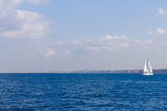 Yacht in the Mediterranean Sea.  Royalty Free Stock Images