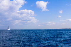 Yacht in the Mediterranean sea, space Stock Photos