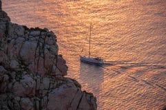 Yacht in the Mediterranean Sea at sunset, Mallorca, Spain. Yacht in the Mediterranean Sea at sunset, Mallorca Stock Photos