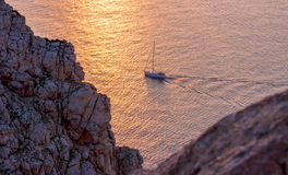Yacht in the Mediterranean Sea at sunset, Mallorca, Spain. Yacht in the Mediterranean Sea at sunset, Mallorca Stock Photography