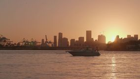 Sunset in Miami. Yacht with Miami skyline in the background during sunset, Florida, USA stock video