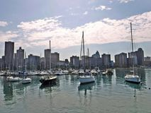 Yacht mole. A view towards Durban city over the yacht mole royalty free stock photography